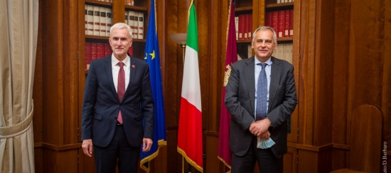 capo POlizia Giannini e segretario Interpol Stock